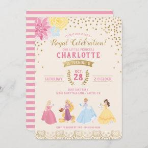 Disney Princess | Floral Gold Confetti Invitation