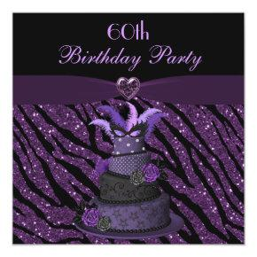 Diva Cake & Printed Zebra Glitter 60th Birthday Invitation
