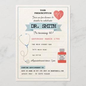 Doctor Prescription Dr. Birthday Party Medical Invitation