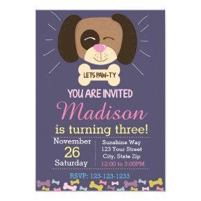 Dog Birthday Invitation (purple)