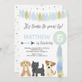 Dog birthday party, Cute puppy dog boy Invitation