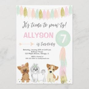 Dog birthday party, Cute puppy dog girl Invitation
