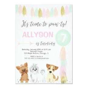 Dog birthday party, Cute puppy dog girl Invitation
