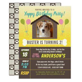 Dog Birthday Party Dog House and Paws Custom Photo Invitation