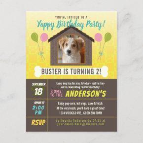Dog Birthday Party Dog House and Paws Custom Photo Invitation Post