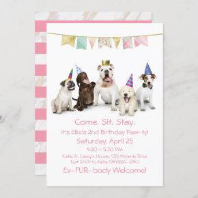 Dog Birthday Party For Girl Puppy Invitation