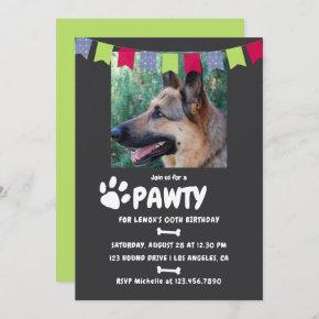 Dog or Puppy Birthday Party photo invitation
