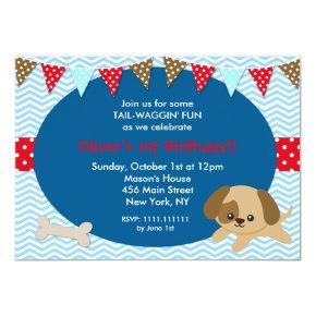 Dog Puppy Birthday Party Invitations