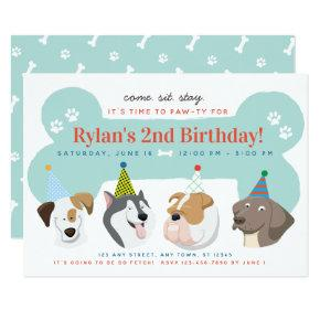 Dog Puppy Birthday Party Paw-ty Invitation