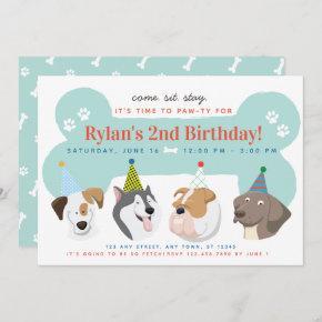 Dog Puppy Birthday Party Paw-ty Invitation