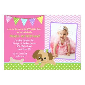 Dog Puppy Photo Birthday Party Invitations