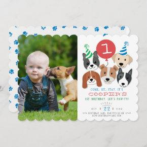 Dogs and Red Balloon Photo Birthday Invite