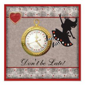 Don't be Late Alice in Wonderland Birthday Party Invitations