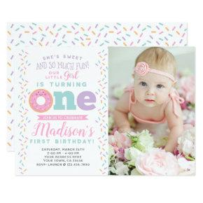 Donut 1st Birthday Invitations with Photo