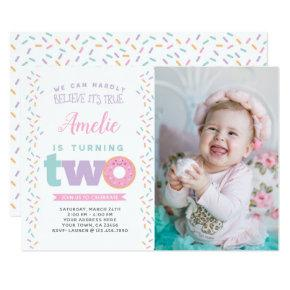 Donut 2nd Birthday Invitations with Photo