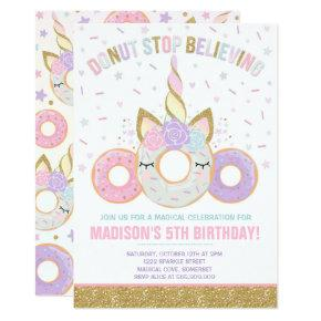 Donut And Unicorn Invitations Donut Stop Believing