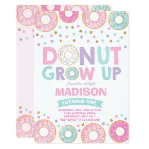 Donut Grow Up Party Birthday Invitations Candied Clouds