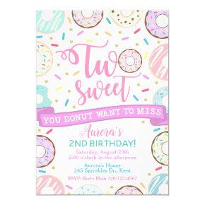 Donut Birthday Invitation Two Sweet Party