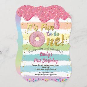 Donut first 1st birthday party pastel rainbow invitation