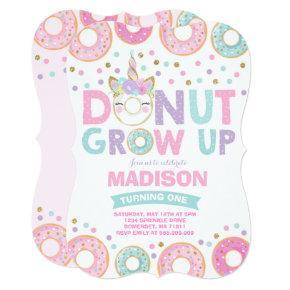 Donut Grow Up Birthday Invitation Donut & Unicorn