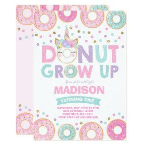 Donut Grow Up Birthday Invitations Donut & Unicorn