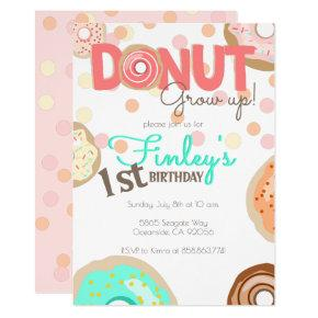 Donut Grow Up Theme Birthday little girl Brunch Invitation