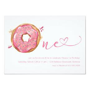 Donut Sprinkles Pink Girls 1st Birthday Invitation