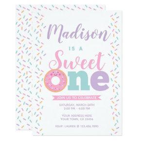 Donut, Sweet One, 1st birthday Invitation