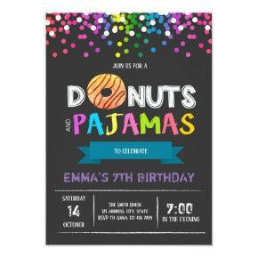 Donuts and pajamas birthday Invitations