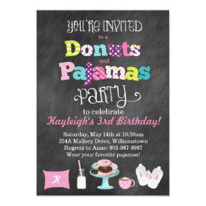 Donuts and Pajamas Chalkboard Style Invitations
