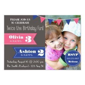 Double Birthday Party Invite (Boy/Girl)