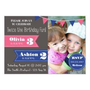 Double Birthday Party Invite (Boy/Girl)