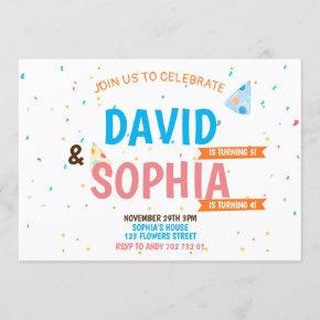 Double Birthday Party Joint Siblings Boy & Girl Invitation