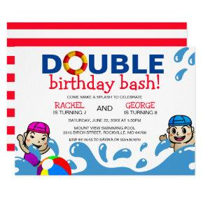 Double Celebration | Kids Pool Birthday Party Invitation