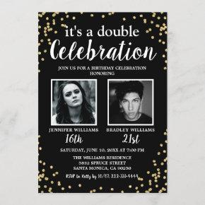 Double Photo Black Gold Birthday Invitation