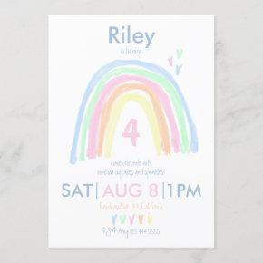 Double Sided Pastel Rainbow Birthday Party Invitation