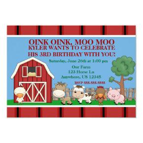 Down on the Farm Kids Birthday Invitations