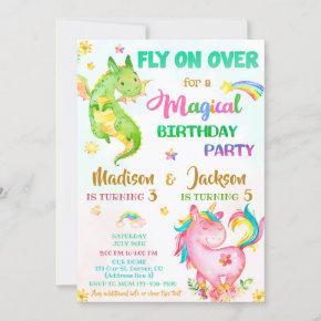 Dragon and unicorn birthday invitation boy & girl