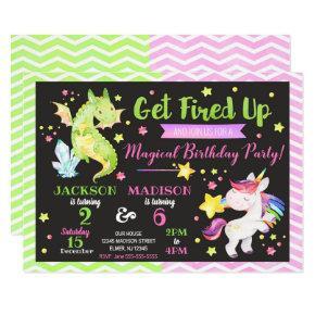 Dragon and Unicorn Joint Birthday Invitation