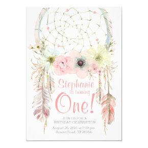Dreamcatcher boho pink pastel Birthday invitation