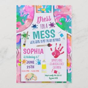 Dress for a Mess Painting Party Art Girl Birthday Invitation