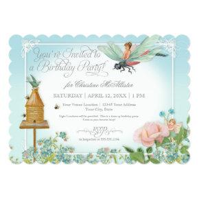 Dress Up Birthday Party Garden Fairy Bee Dragonfly Card
