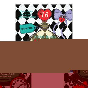 Drink Me Alice In Wonderland Birthday Party Invite