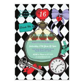 Drink Me Alice In Wonderland Birthday Party Invite
