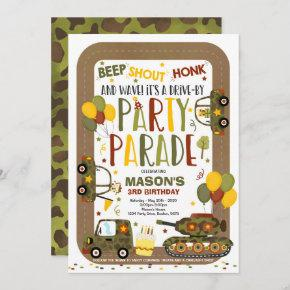 Drive By Birthday Parade Invitation Army Tankers