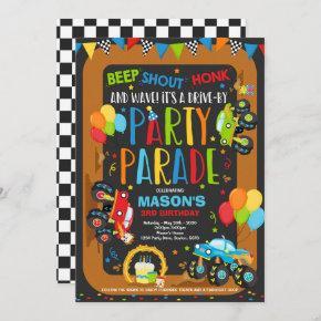 Drive By Birthday Parade Invitation Monster Trucks