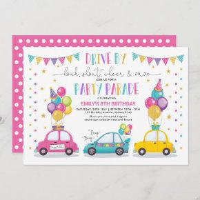 Drive By Birthday Parade Quarantine Party Girl Invitation