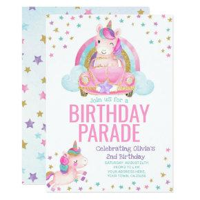 Drive By Unicorn Birthday Invitation