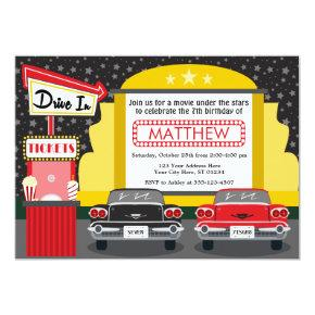 Drive In Movie Party Invitations | Outdoor Movie