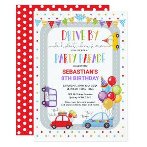 Drive Thru Birthday Parade Quarantine Party Invitation